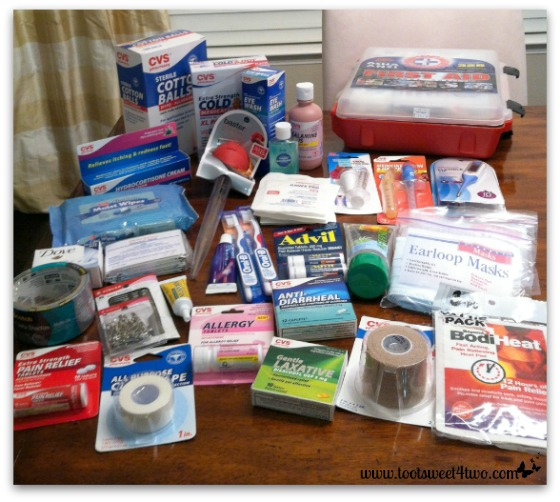 Items purchased for the first aid kit - Toot Sweet 4 Two
