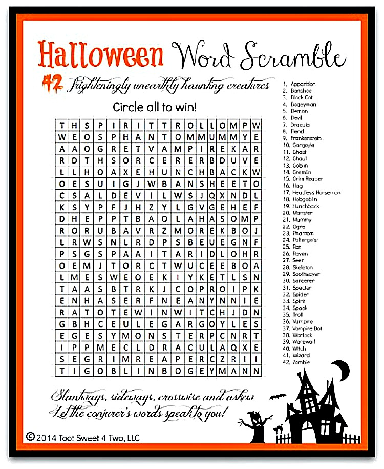 image about Printable Halloween Word Search called Halloween Phrase Scramble image 750x915 - Toot Adorable 4 2