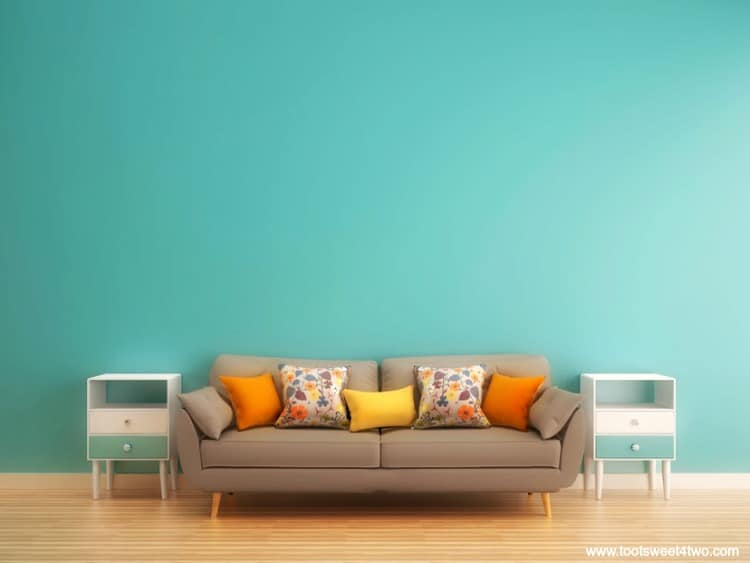 Aqua Wall And Gray Sofa How To Update Your Outdated Living Room