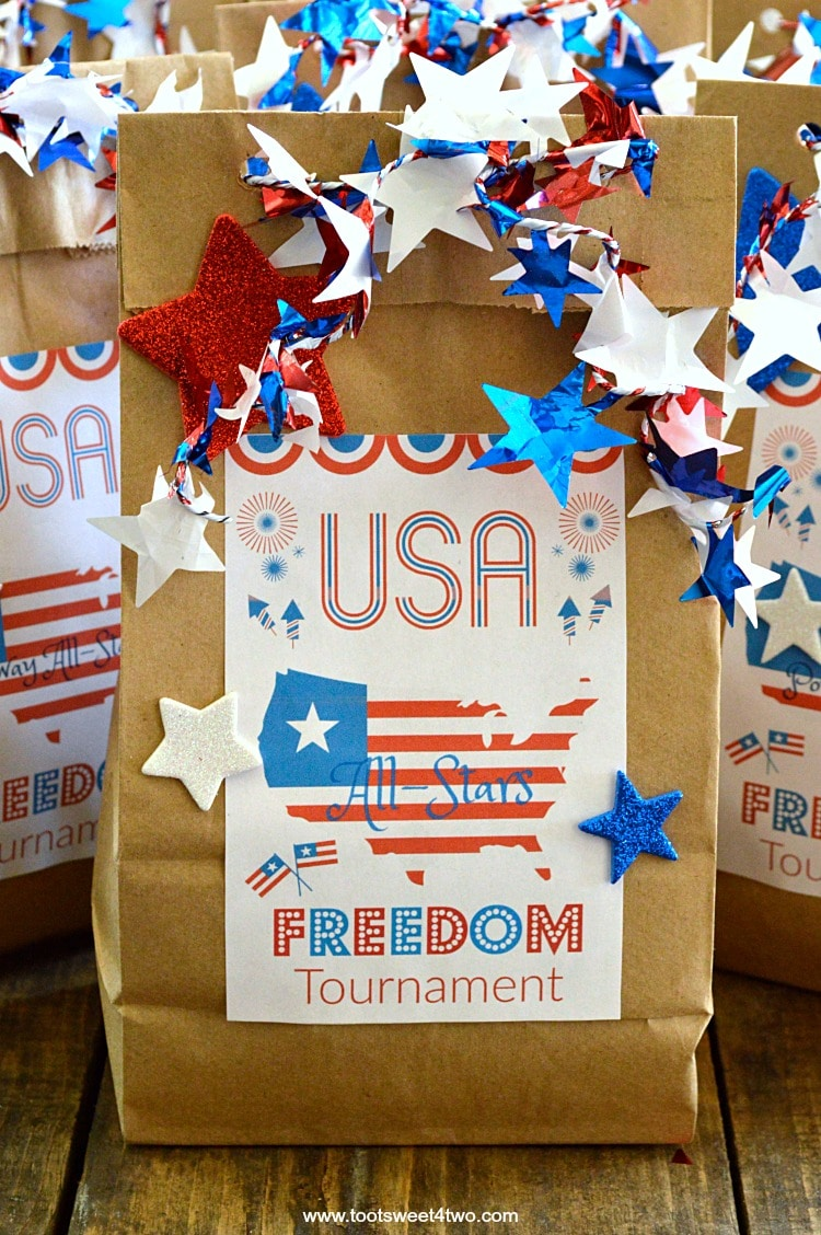 photograph relating to Printable Paper Bags referred to as Patriotic Do-it-yourself Brown Paper Bag Take care of Baggage moreover Absolutely free Printable