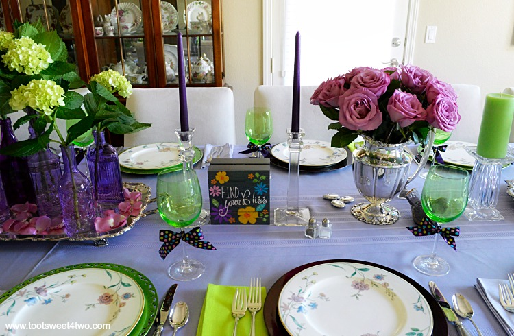 Dining Table Decor Ideas Purple And Green Right Side Of Centerpiece Toot Sweet 4 Two